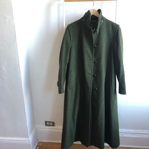 Vintage Lands End green wool trench coat S-M
